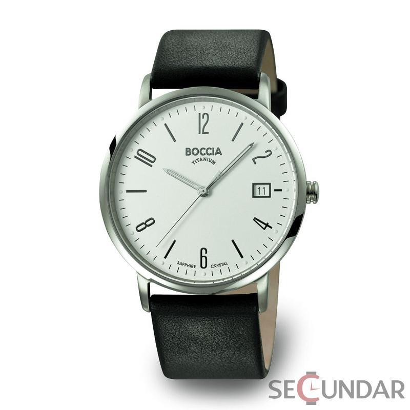 Ceas Boccia TITANIUM 3557-01 Leather Strap Barbatesc de Mana Original