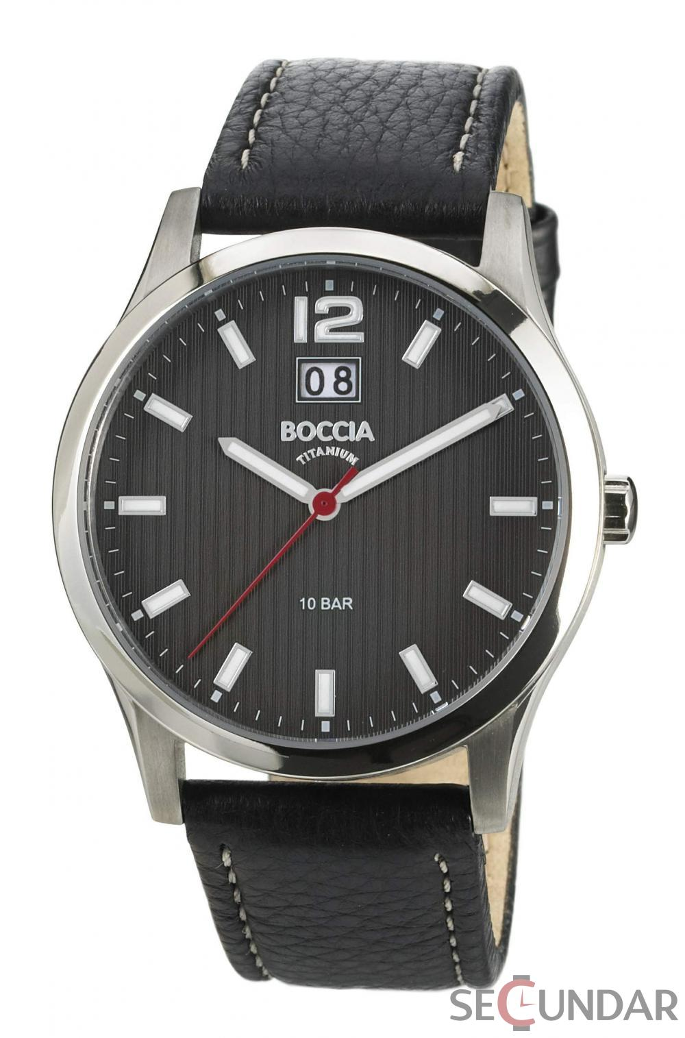 Ceas Boccia TITANIUM 3580-01 Black Leather Barbatesc de Mana Original
