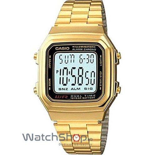 Ceas Casio RETRO A178WGA-1ADF Gold de Mana Original Pentru Barbati