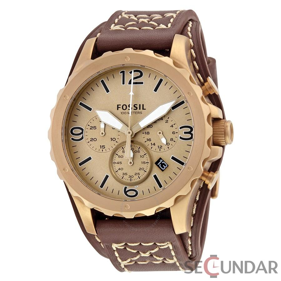 Ceas Fossil JR1495 Nate Gold-tone Chronograph Brown Leather Men s Watch Barbatesc de Mana Original