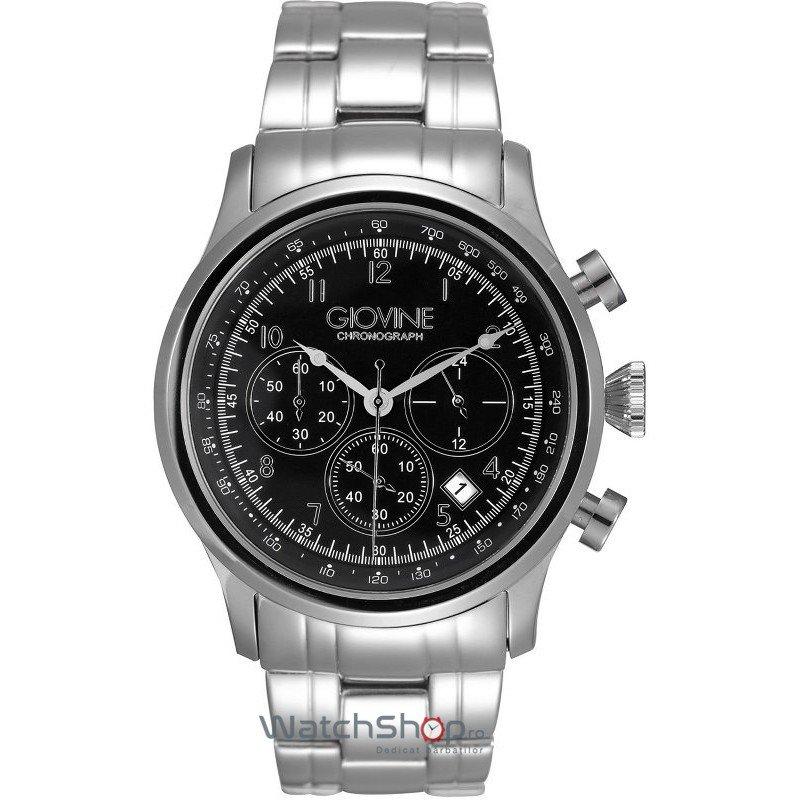 Ceas Giovine CASANOVA OGI004/C/MB/SS/NR Cronograf Barbatesc Original de Lux
