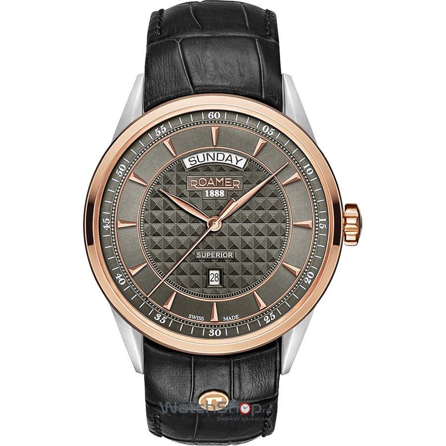 Ceas Roamer Superior Black Leather Strap 508293 49 05 05 Barbatesc Original de Lux