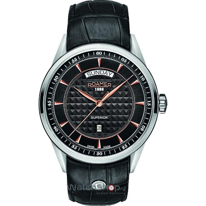 Ceas Roamer Superior Black Leather Strap 508293 49 55 05 Barbatesc Original de Lux