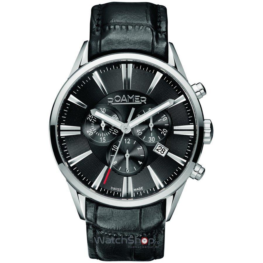Ceas Roamer Superior Black Leather Strap 508837 41 55 05 Barbatesc Original de Lux