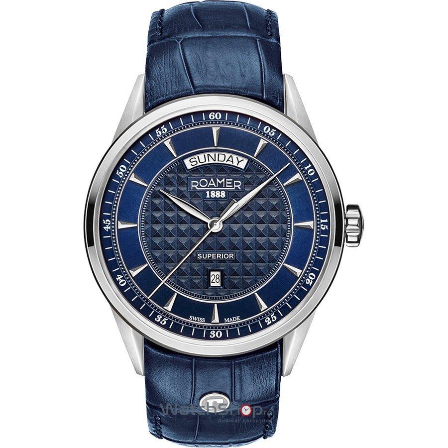 Ceas Roamer Superior Blue Leather Strap 508293 41 45 05 Barbatesc Original de Lux