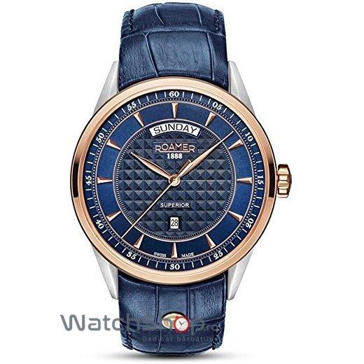 Ceas Roamer Superior Blue Leather Strap 508293 49 45 05 Barbatesc Original de Lux