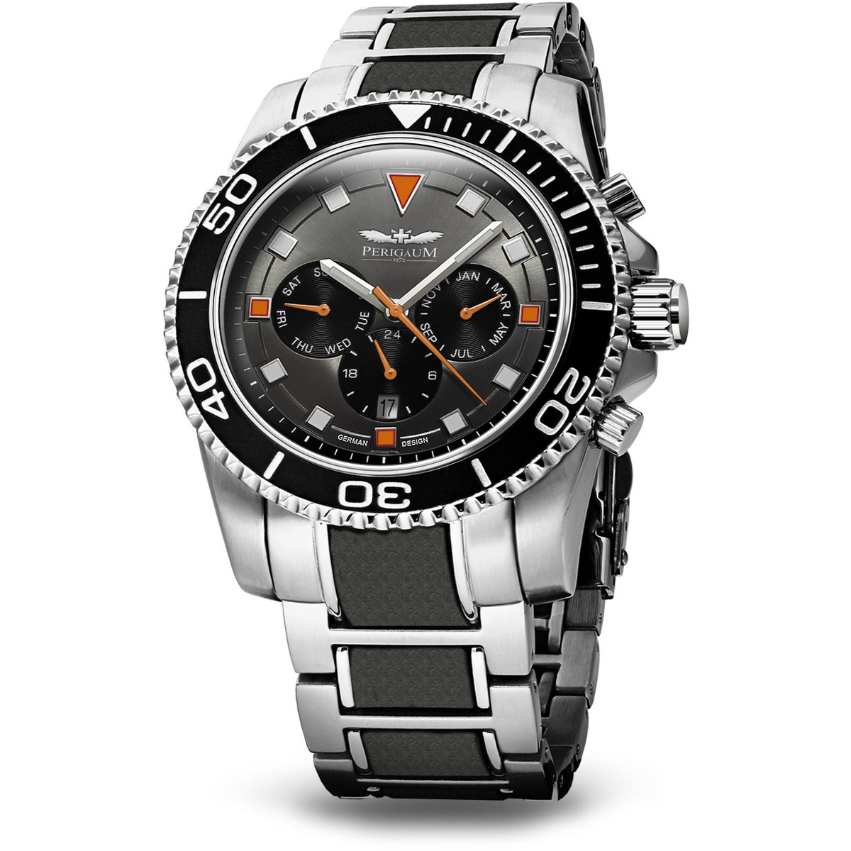 Ceas barbatesc Perigaum Stingray P-1401-OR -orange- Automatic 46 mm 100M de mana original