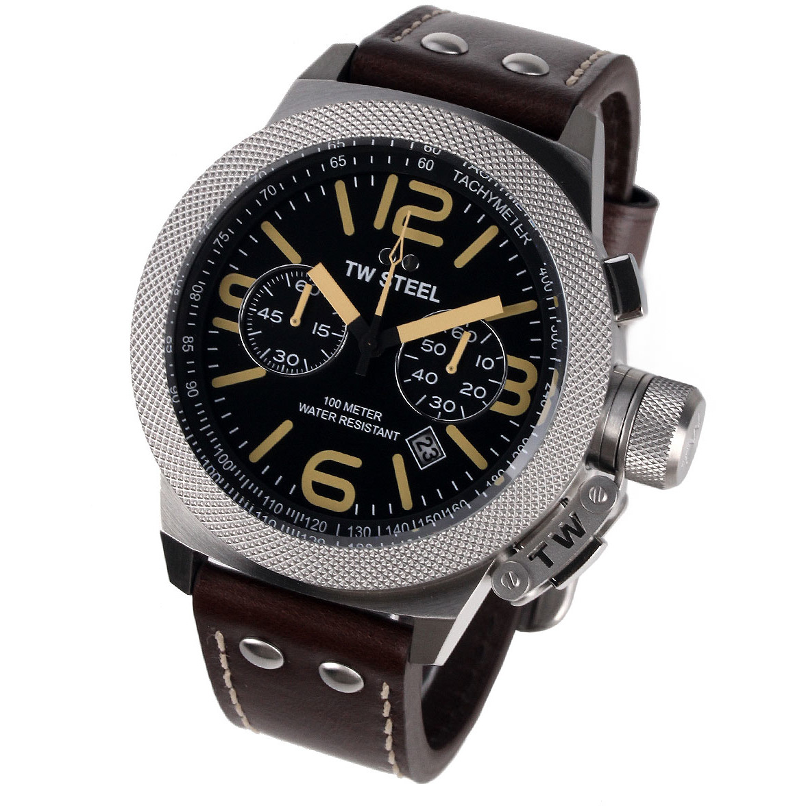 Ceas barbatesc TW-Steel CS34 Canteen Leather Chronograph de mana original