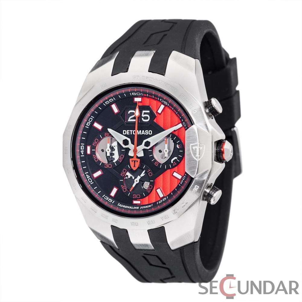 Ceas original Detomaso Adrenaline Junkie Silver/Black/Red DT-YG103-D Barbatesc de Mana Original