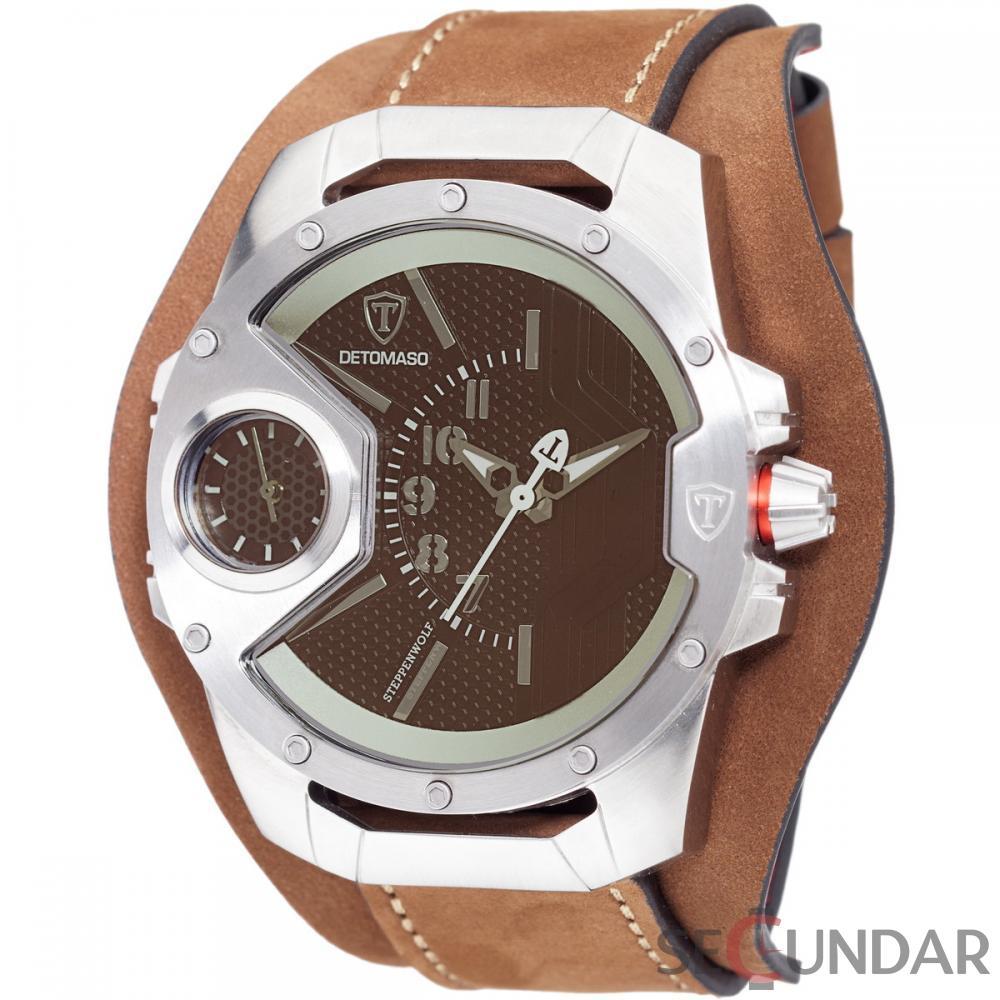 Ceas original Detomaso Steppenwolf Brown Glass Silver/Brown DT-YG104-E Barbatesc de Mana Original